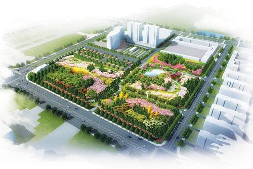 东方广场西侧植物园鸟瞰图